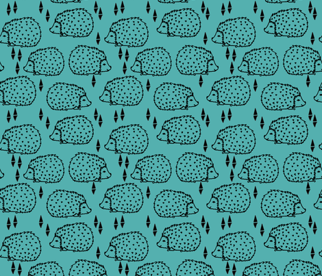 Hedgehogs - Tiffany Blue fabric by andrea_lauren on Spoonflower - custom fabric