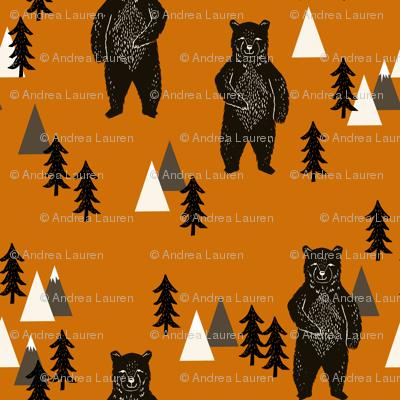 forest bear // kids woodland outdoors camping bear mountains boys room boys nursery baby