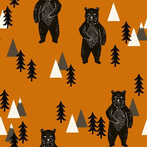 forest bear // kids woodland outdoors camping bear mountains boys room boys nursery baby