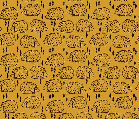 Hedgehogs - Mustard fabric by andrea_lauren on Spoonflower - custom fabric