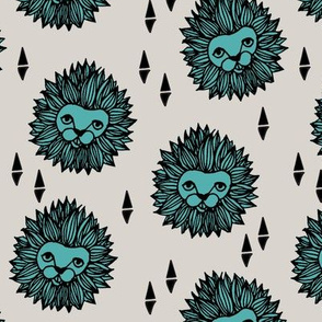 lion // lion head grey and blue kids nursery baby boy safari zoo animal
