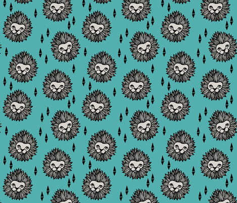 lion head // grey and blue lions lion head zoo safari kids nursery baby boy fabric by andrea_lauren on Spoonflower - custom fabric