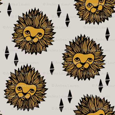 lion fabric // lion head grey and gold mustard boys nursery baby boy kids
