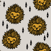 lion // lion head grey and gold mustard boys nursery baby boy kids