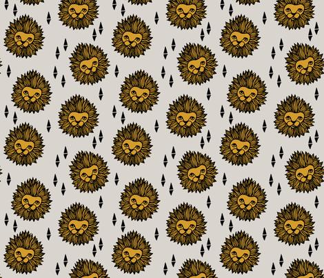 lion fabric // lion head grey and gold mustard boys nursery baby boy kids  fabric by andrea_lauren on Spoonflower - custom fabric