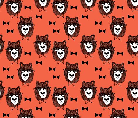 bowtie bear // coral bear fabric nursery design andrea lauren fabric bowties fabric fabric by andrea_lauren on Spoonflower - custom fabric