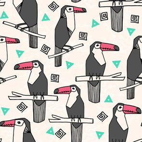 toucans // toucan bird tropical tropicals birds palms print toucan print