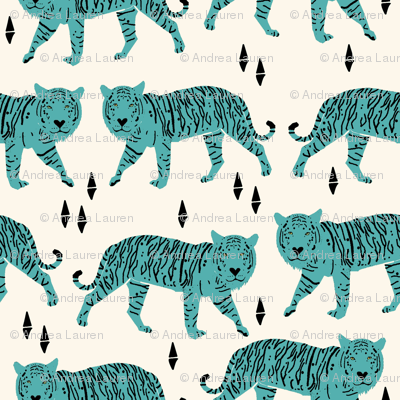 Tigers - Cream/Tiffany Blue by Andrea Lauren