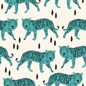 Tigers - Cream/Tiffany Blue by Andrea Lauren