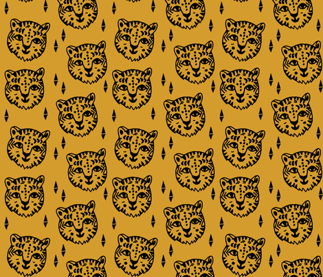 Tiger Face - Saffron fabric by andrea_lauren on Spoonflower - custom fabric
