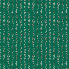 Orange Glyphs on Green