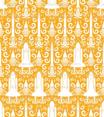 Rocket Science Damask (large orange)