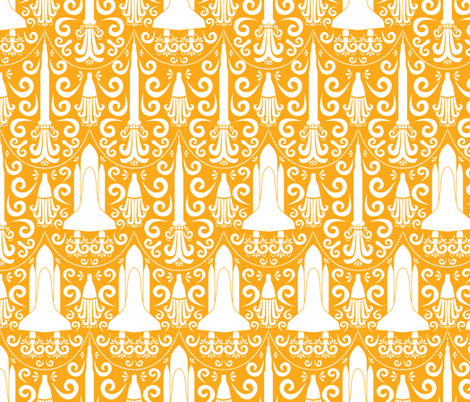 Rocket Science Damask (large orange) fabric by robyriker on Spoonflower - custom fabric