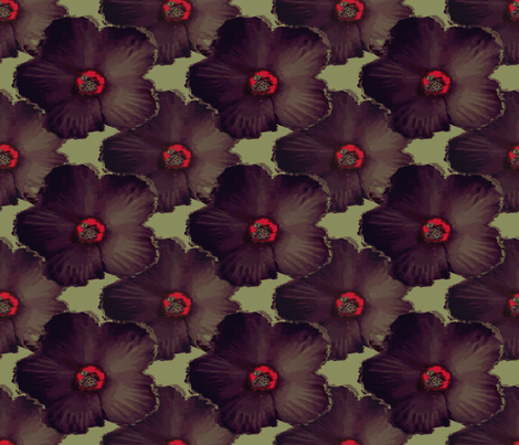 Hibiscus in Brown fabric by anniedeb on Spoonflower - custom fabric