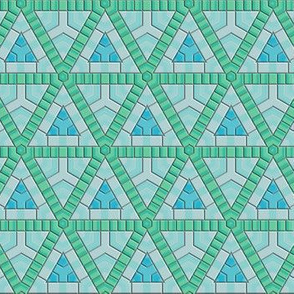 Blue Green Hexagons and Triangles © Gingezel™ 2014