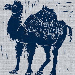 Dark blue  Camel on pale gray with texture