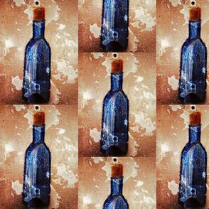 Wine bottles in blue