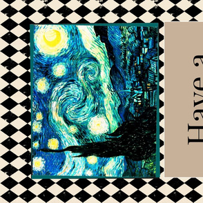 Starry Night  Van Gogh, Tea Towel Size Fat Quarter, Cream & Black Harlequin Diamond