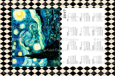 Starry Night Calendar 2017 Van Gogh, Tea Towel Size Fat Quarter, Cream & Black Harlequin Diamond