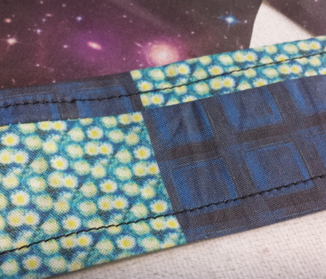 Police Box Squares + Van Gogh's Starry Night Swirls, Cheater Patchwork Quilt Blocks