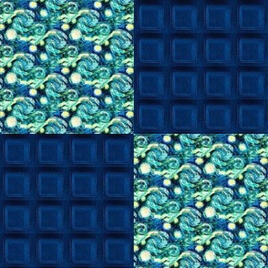 Police Box Squares + Van Gogh's Starry Night Swirls, Cheater Patchwork Quilt Blocks