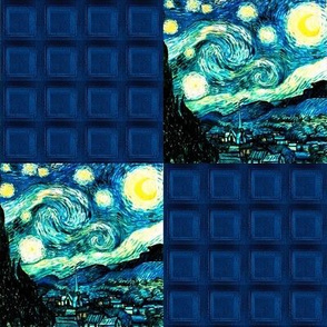 Police Box and Van Gogh's Starry Night Patchwork Cheater Quilt Blocks