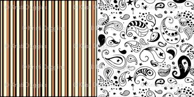 Orange Stripes Black White Paisley Cheater Quilt Patchwork  Blocks