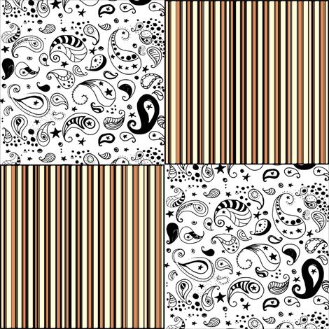 Orange Stripes Black White Paisley Cheater Quilt Patchwork  Blocks fabric by bohobear on Spoonflower - custom fabric