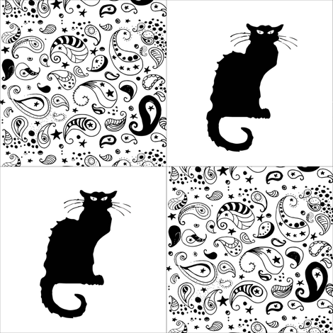 Black and White Paisley Le Chat Noir Cat Patchwork Cheater Quilt Blocks fabric by bohobear on Spoonflower - custom fabric