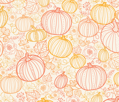 Thanksgiving line art pumpkins fabric by oksancia on Spoonflower - custom fabric