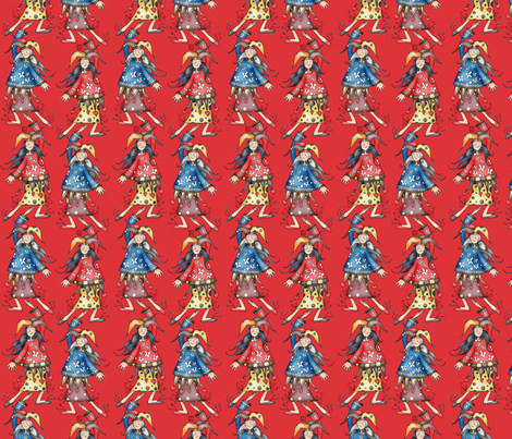 Lady jokers coordinating in red fabric by catru on Spoonflower - custom fabric