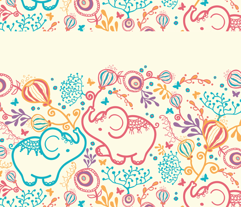 Elephants with bouquets matching border fabric by oksancia on Spoonflower - custom fabric