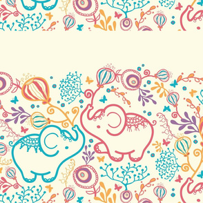 Elephants with bouquets matching border