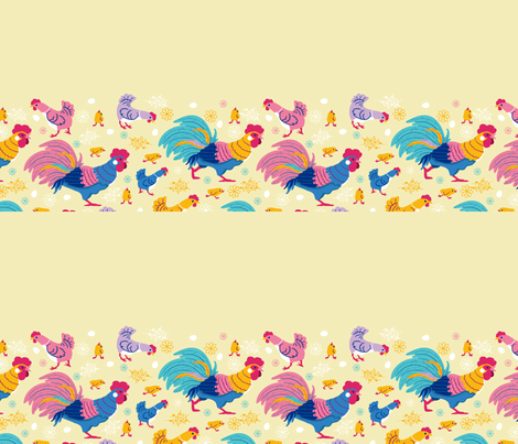 Chicken family matching border fabric by oksancia on Spoonflower - custom fabric