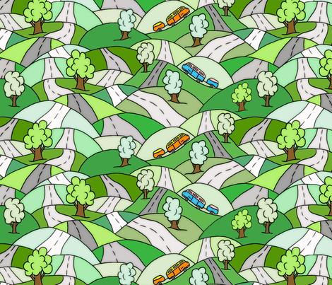 Dancing roads fabric by lucybaribeau on Spoonflower - custom fabric