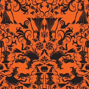 Halloween Witch Damask- Orange
