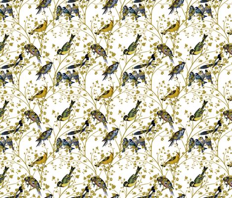 Georgian Birds on White fabric by glanoramay on Spoonflower - custom fabric