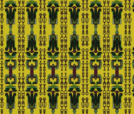 TRIBAL LIFE_in yellow fabric by miurio_decor on Spoonflower - custom fabric