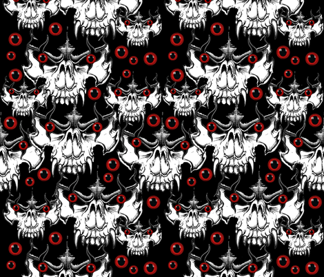 Demon Skulls w/ red eyes fabric by whimzwhirled on Spoonflower - custom fabric