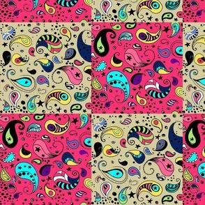 Cheater Quilt Blocks, Pink & Cream Hand Drawn Bohemian Paisley
