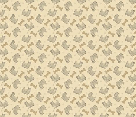 Tiny Yorkies and bones fabric by rusticcorgi on Spoonflower - custom fabric