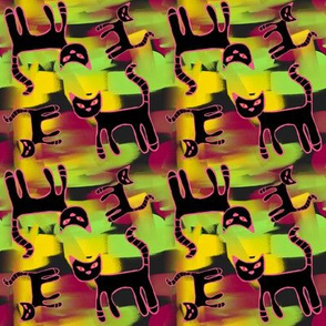 Painted Black Cats Abstract