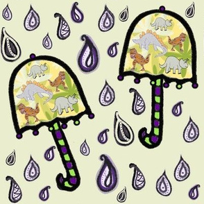Bohemian Weather Dinosaur Umbrellas on Purple