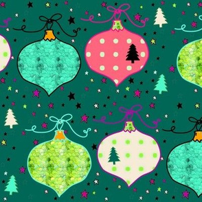 Teal Green Christmas Trees Stars & Ornaments