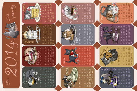 2014 Kitten Tea (Towel) Party Calendar fabric by ninniku on Spoonflower - custom fabric