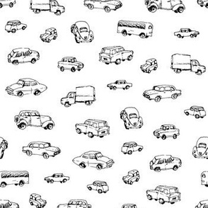 Little Retro Cars | Black and White