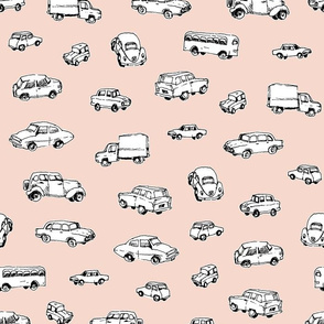 Little Retro Cars | Peach Background