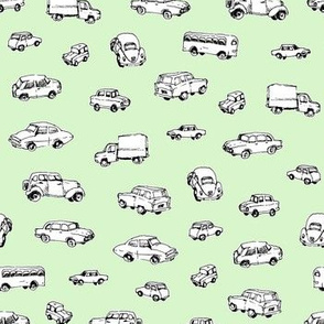 Little Retro Cars | Green Background