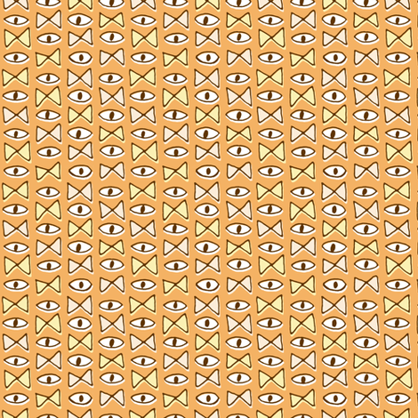 Eye Bow Tie | Orange fabric by imaginaryanimal on Spoonflower - custom fabric