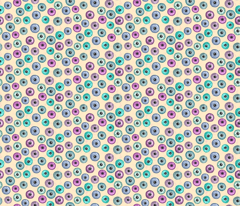 Ditsy Eyes Small (cream,pink,blue,green) fabric by ladykerry on Spoonflower - custom fabric